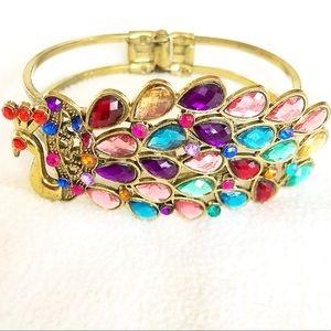 Jewelry - NWOT 🌈 Crystal Rainbow Peacock Bracelet Gold Tone
